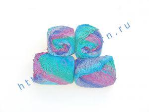 Пряжа 2/1. 50% Натуральный шелк (mulberry silk), 17% вискоза, 17% акрил, 16% хлопок. Основные цвета синий, бордовый, бирюзовый