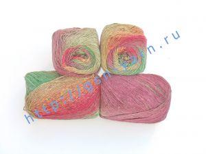 Пряжа 3/1. 55% Натуральный шелк малберри (mulberry silk), 25% нейлон, 20% шерсть. Основные цвета красный, зеленый, бордовый