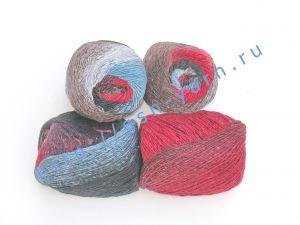 Пряжа 2/1. 90% Шерсть, 10% натуральный шелк малберри (mulberry silk). Основные цвета коричневый, красный, синий