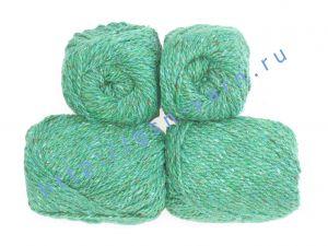 Пряжа 2/2 (твид). 55% Натуральный шелк малберри (mulberry silk), 45% шерсть. Цвет сочно-зеленый с разноцветными вкраплениями