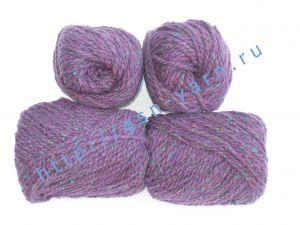 Пряжа 2/2 (твид). 55% Натуральный шелк малберри (mulberry silk), 45% шерсть. Цвет фиолетовый с разноцветными вкраплениями
