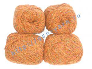 Пряжа 2/2 (твид). 55% Натуральный шелк малберри (mulberry silk), 45% шерсть. Цвет ярко-рыжий с разноцветными вкраплениями