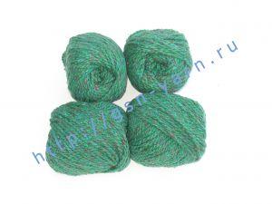 Пряжа 2/2 (твид). 55% Натуральный шелк малберри (mulberry silk), 45% шерсть. Цвет темно-зеленый с разноцветными вкраплениями