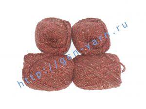 Пряжа 2/2 (твид). 55% Натуральный шелк малберри (mulberry silk), 45% шерсть. Цвет красно-коричневый с разноцветными вкраплениями