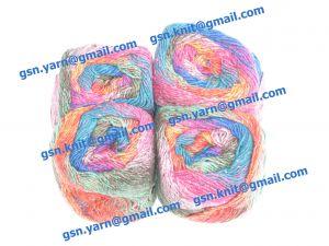 Узелковая пряжа, непсы (NEPS yarn, пряжа с включениями) 2/1. 50% Натуральный шелк (mulberry silk), 17% вискоза, 17% акрил, 16% хлопок. Основные цвета красный, синий, зеленый и их оттенки