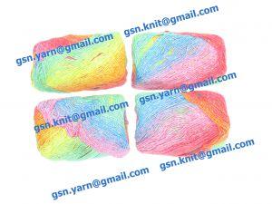 Узелковая пряжа, непсы (NEPS yarn, пряжа с включениями) 2/1. 55% Хлопок, 40% вискоза, 5% натуральный шелк (mulberry silk). Основные цвета зеленый, желтый, синий, красный и их оттенки