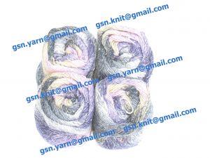 Узелковая пряжа, непсы (NEPS yarn, пряжа с включениями) 2/1. 55% Хлопок, 40% вискоза, 5% натуральный шелк (mulberry silk). Основные цвета синий, фиолетовый, серый и их оттенки
