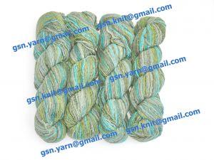 Узелковая пряжа, непсы (NEPS yarn, пряжа с включениями) 1,6/1. 50% Натуральный шелк (mulberry silk), 17% вискоза, 17% акрил, 16% хлопок. Основные цвета зеленый, серый, голубой и их оттенки