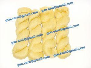 Пряжа 6,5/1. 61% Акрил, 33% конопля, 3% вискоза, 3% натуральный шелк (mulberry silk). Цвет желтый + белый (меланж)