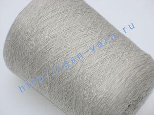 Пряжа меланж 5,7/1. 54% Хлопок, 31% натуральный шелк (mulberry silk), 10% шерсть, 5% нейлон. Цвет белый + светло-серый