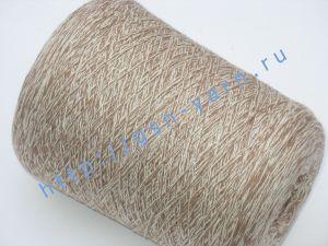 Пряжа меланж 5,7/1. 54% Хлопок, 31% натуральный шелк (mulberry silk), 10% шерсть, 5% нейлон. Цвет белый + светло-коричневый
