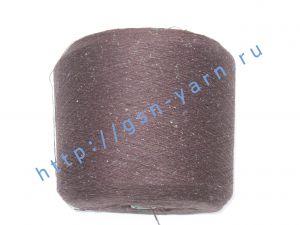 Пряжа 14/1. 57% Лен, 33% вискоза, 10% натуральный шелк (mulberry silk). Цвет коричневый + разноцветные вкрапления