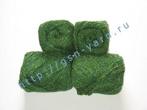 Пряжа 5,5/3. 60% Натуральный шелк (mulberry silk), 40% вискоза. Цвет 07: ярко-зеленый + вкрапления