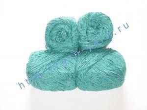 Пряжа 5,5/3. 60% Натуральный шелк (mulberry silk), 40% вискоза. Цвет 08: лазурный + вкрапления