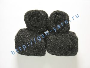 Пряжа 5,5/3. 60% Натуральный шелк (mulberry silk), 40% вискоза. Цвет 01: темно-серый (черный) + вкрапления