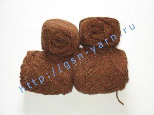 Пряжа 5,5/3. 60% Натуральный шелк (mulberry silk), 40% вискоза. Цвет 05: коричневый + вкрапления