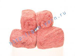 Пряжа 5,5/3. 60% Натуральный шелк (mulberry silk), 40% вискоза. Цвет 06: бледно-красный + вкрапления