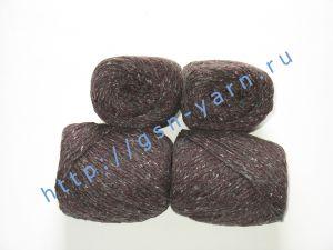 Пряжа 6/3. 40% Натуральный шелк (mulberry silk), 40% нейлон, 20% лен. Цвет 07: бордовый + вкрапления