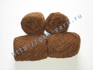 Пряжа 6/3. 40% Натуральный шелк (mulberry silk), 40% нейлон, 20% лен. Цвет 06: коричневый + вкрапления