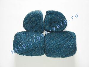 Пряжа 6/3. 40% Натуральный шелк (mulberry silk), 40% нейлон, 20% лен. Цвет 01: ярко-бирюзовый (синий) + вкрапления
