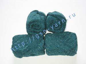 Пряжа 6/3. 50% Хлопок, 30% вискоза, 20% натуральный шелк (mulberry silk). Цвет 03: ярко-бирюзовый + вкрапления