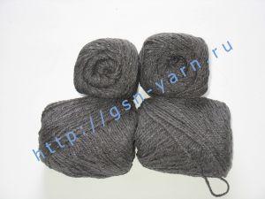 Пряжа 6/3. 50% Хлопок, 30% вискоза, 20% натуральный шелк (mulberry silk). Цвет 08: темно-серый + вкрапления