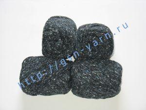 Пряжа 4/2. 60% Акрил, 20% хлопок, 20% лен. Цвет 04: черно-синий + вкрапления