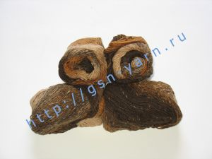 Пряжа секционного крашения 2,3/1. 60% Хлопок, 40% акрил. Цвет 04. Основные цвета: оттенки коричневого и бежевого