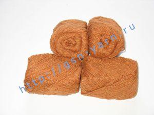 Пряжа 6/3. 50% Хлопок, 30% вискоза, 20% натуральный шелк (mulberry silk). Цвет 04: рыжий + вкрапления