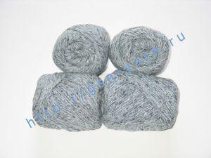 Пряжа 4/2. 60% Акрил, 20% хлопок, 20% лен. Цвет 03: светло-серый + вкрапления
