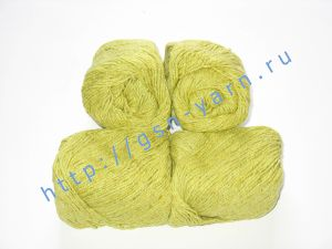 Пряжа 6/3. 40% Хлопок, 30% лен, 30% вискоза. Цвет 01: желто-салатовый + вкрапления