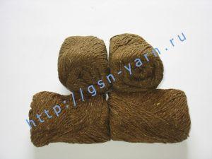 Пряжа 6/3. 40% Хлопок, 30% лен, 30% вискоза. Цвет 02: коричневый + вкрапления