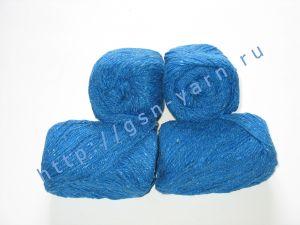 Пряжа 6/3. 40% Хлопок, 30% лен, 30% вискоза. Цвет 04: синий + вкрапления