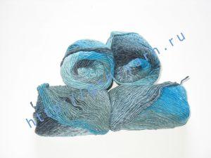Пряжа секционного крашения 2/1. 60% Хлопок, 20% лен, 20% нейлон. Цвет 08. Основные цвета: оттенки голубого и серого