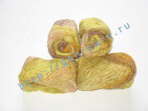 Пряжа секционного крашения 2/1. 60% Хлопок, 20% лен, 20% нейлон. Цвет 05. Основные цвета: оттенки желтого и коричневого