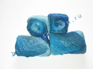Пряжа секционного крашения 2/1. 60% Хлопок, 20% лен, 20% нейлон. Цвет 02. Основные цвета: оттенки синего