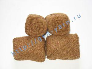 Пряжа 4/2. 60% Акрил, 20% хлопок, 20% лен. Цвет 01: коричневый + вкрапления
