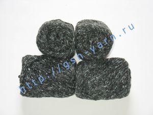 Пряжа 4/2. 60% Акрил, 20% хлопок, 20% лен. Цвет 05: темно-серый (черный) + вкрапления