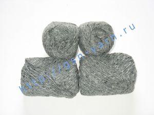 Пряжа 4/2. 60% Акрил, 20% хлопок, 20% лен. Цвет 06: серый + вкрапления