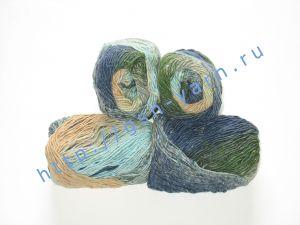 Пряжа секционного крашения 2/1. 60% Хлопок, 20% лен, 20% нейлон. Цвет 03. Основные цвета: оттенки синего, зеленого и желтого