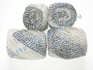 Пряжа секционного крашения 2/2. 55% Хлопок, 40% вискоза, 5% натуральный шелк (mulberry silk). Цвет 08. Основные цвета: оттенки серого белого и черного