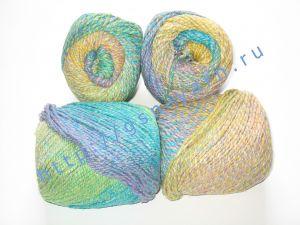 Пряжа секционного крашения 2/2. 55% Хлопок, 40% вискоза, 5% натуральный шелк (mulberry silk). Цвет 03. Основные цвета: оттенки синего, зеленого и желтого