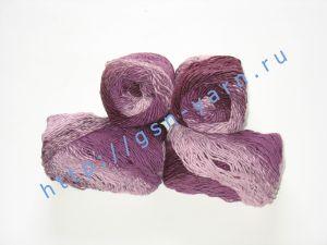 Пряжа секционного крашения 2,3/1. 60% Хлопок, 40% акрил. Цвет 08. Основные цвета: оттенки фуксии и бледно-розового