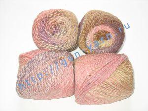 Пряжа секционного крашения 2/2. 60% Хлопок, 20% лен, 20% нейлон. Цвет 04. Основные цвета: оттенки розового и коричневого