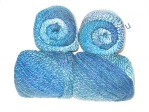 Пряжа секционного крашения 2/2. 60% Хлопок, 20% лен, 20% нейлон. Цвет 02. Основные цвета: оттенки синего