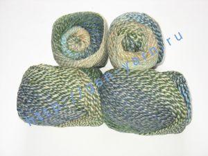 Пряжа секционного крашения 2/2. 60% Хлопок, 20% лен, 20% нейлон. Цвет 03. Основные цвета: оттенки синего, зеленого и желтого
