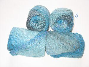Пряжа секционного крашения 2/2. 60% Хлопок, 20% лен, 20% нейлон. Цвет 08. Основные цвета: оттенки голубого
