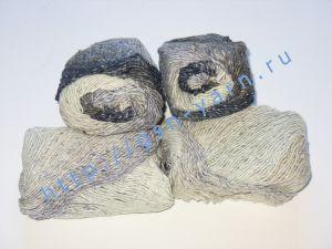 Пряжа секционного крашения 2/1. 55% Хлопок, 40% вискоза, 5% натуральный шелк (mulberry silk). Цвет 08. Основные цвета: оттенки серого, синего, белого и черного