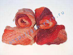 Пряжа секционного крашения 2/1. 55% Хлопок, 40% вискоза, 5% натуральный шелк (mulberry silk). Цвет 04. Основные цвета: оттенки красного
