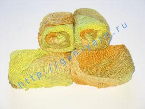 Пряжа секционного крашения 2/1. 55% Хлопок, 40% вискоза, 5% натуральный шелк (mulberry silk). Цвет 07. Основные цвета: оттенки желтого и рыжего